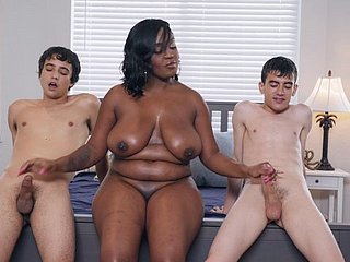 Chubby buxom felonious MILF Layton Benton takes two obese washed out dicks